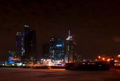 Moscow City business center. Night view. Royalty Free Stock Photography