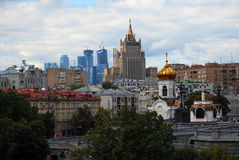 Moscow City Business Center and old building of Moscow Stock Photography
