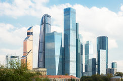 Moscow-City business center. Skyscrapers in Moscow-City business center on sunny day Royalty Free Stock Image