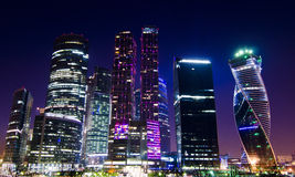 Moscow City Business Center. Spectacular night view of the Moscow International Business Center, a new commercial district in Moscow, Russia Royalty Free Stock Image