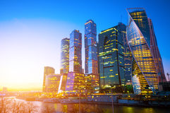 Moscow City business center. At sunset Stock Images