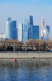 Moscow City business center. View from the Moscow river embankment. Blue sky background Stock Images