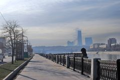 Moscow City business center. View from the Moscow river embankment. Royalty Free Stock Photo