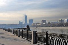 Moscow City business center. View from the Moscow river embankment. Stock Photos