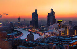 Moscow-city business region. Evening view of the Moscow-City business center and the Moscow-river Royalty Free Stock Photo