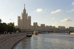 Moscow city center highrise tower on the sunrise and yacht saiMo Royalty Free Stock Photography