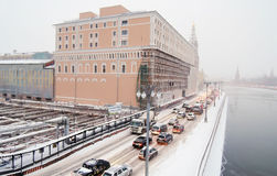 Moscow city center at snowstorm. Royalty Free Stock Photo