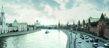 Moscow city center - view on Kremlin, Cathedral of Christ the Sa Stock Image