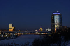 Moscow city center at winters evening royalty free stock photos