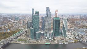 Moscow-City. Clip. Russia. Grandiose skyscrapers on the waterfront near the Moscow river. The Evolution tower is a. Masterpiece of architecture. Tower Empire Stock Photos