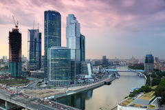 Moscow City complex of skyscrapers at evening Royalty Free Stock Image