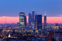 Moscow City complex of skyscrapers at evening Royalty Free Stock Images