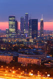 Moscow City complex of skyscrapers at evening Stock Images