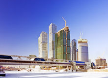 Moscow City complex under construction Stock Images