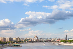 Moscow city with Crimean bridge and Moskva River Royalty Free Stock Photography