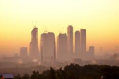 Moscow-City at dawn stock photos