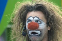 Moscow City Day celebration in Gorky park. Clown performs Stock Image