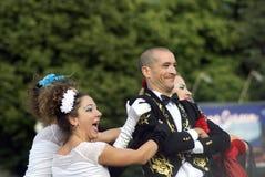 Moscow City Day celebration in Gorky park. Corona theater from Italy Royalty Free Stock Photos