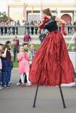 Moscow City Day celebration in Gorky park. Corona theater from Italy stock image