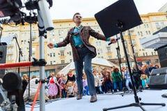 Moscow City Day. Performance on Tverskaya Street. MOSCOW, RUSSIA - SEPTEMBER 10, 2016: Moscow City Day, 869 anniversary of the city. Performance on Tverskaya Royalty Free Stock Photo