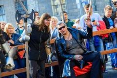 Moscow City Day. Performance on Tverskaya Street. MOSCOW, RUSSIA - SEPTEMBER 10, 2016: Moscow City Day, 869 anniversary of the city. Performance on Tverskaya Royalty Free Stock Image