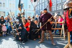 Moscow City Day. Performance on Tverskaya Street. MOSCOW, RUSSIA - SEPTEMBER 10, 2016: Moscow City Day, 869 anniversary of the city. Performance on Tverskaya Royalty Free Stock Photos