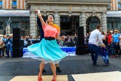 Moscow City Day. Performance on Tverskaya Street. MOSCOW, RUSSIA - SEPTEMBER 10, 2016: Moscow City Day, 869 anniversary of the city. Performance on Tverskaya Stock Images