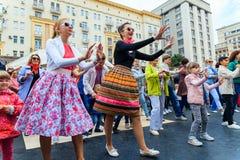 Moscow City Day. Performance on Tverskaya Street. MOSCOW, RUSSIA - SEPTEMBER 10, 2016: Moscow City Day, 869 anniversary of the city. Performance on Tverskaya Stock Photo