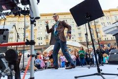 Moscow City Day. Performance on Tverskaya Street. MOSCOW, RUSSIA - SEPTEMBER 10, 2016: Moscow City Day, 869 anniversary of the city. Performance on Tverskaya Royalty Free Stock Photography