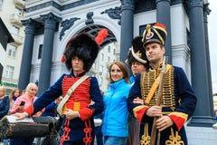 Moscow City Day. Performance on Tverskaya Street. MOSCOW, RUSSIA - SEPTEMBER 10, 2016: Moscow City Day, 869 anniversary of the city. Performance on Tverskaya Stock Photography