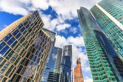 Moscow city downtown district with skyscrapers and blue sky with Royalty Free Stock Images