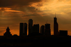 Moscow City. Dramatic sunset over building. Moscow City Royalty Free Stock Image