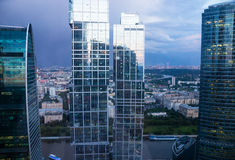 Moscow City in the evening light with a height Royalty Free Stock Photo