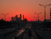 Moscow City on fire. royalty free stock images