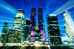Moscow. City. Freezelight . Night Scene . lights Royalty Free Stock Photo