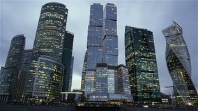 Moscow City - futuristic skyscrapers Moscow Business Center. Moscow City - futuristic skyscrapers Moscow International Business Center stock footage