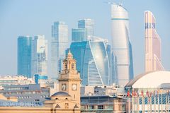 Moscow City and Kievsky Station attractions of Moscow. Russia royalty free stock image