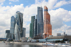 Moscow City and Krasnopresnenskaya embankment Stock Images