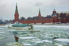 Moscow city landscape- artwork drawing. Watercolor artwork. Kremlin, Moscow- city landscape. Winter- ship on the river royalty free stock photo