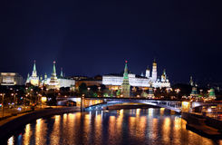 Moscow city landscape at night Stock Images