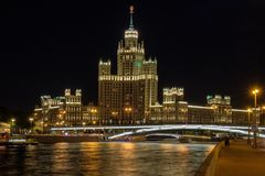 Moscow city landscape with night view on skyscraper on embankment river royalty free stock photography