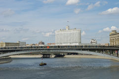 Moscow city landscape, Russia. Moscow city landscape: White house, river and brigde Stock Photo