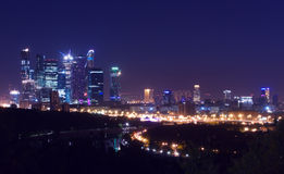 Moscow city-line  night. Russian architecture at the night or late evening time: Moscow city-line panorama with old and modern contemporary buildings, streets Stock Images
