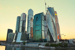 Moscow-city (Moscow International Business Center) at evening Stock Image