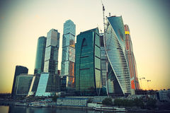 Moscow-city (Moscow International Business Center) at evening Royalty Free Stock Photo
