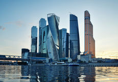 Moscow city (Moscow International Business Center) at evening Royalty Free Stock Photo