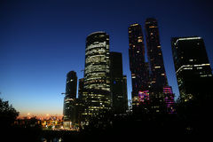 Moscow-city (Moscow International Business Center) at night Stock Photography