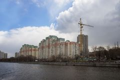 Moscow city, new building near moscow river. Royalty Free Stock Photography