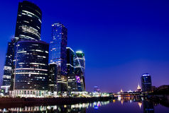 Moscow City - New Business Center. Moscow City Business Center, urban view at dusk, in April 2014 Stock Images