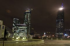 Moscow city at night. At foreground entrance in undeground garage Stock Photography